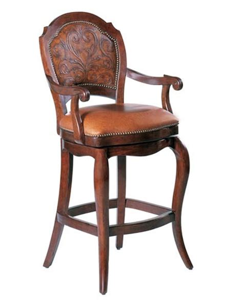 antique bar stool mahogany leather swivel barstool santa barbara design 1255