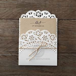 vintage doily laser cut pocket for intimate rustic affairs With paper cut wedding invitations uk