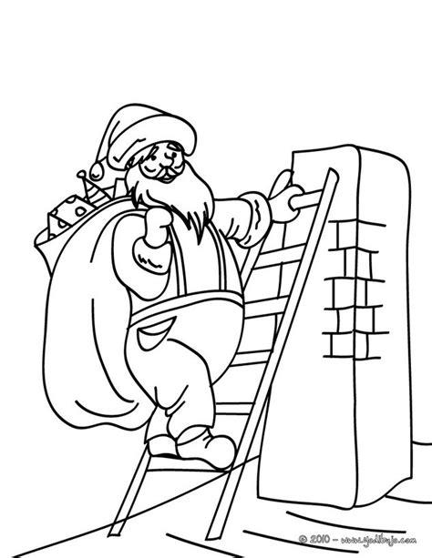 dibujos  colorear papa noel en una escala es