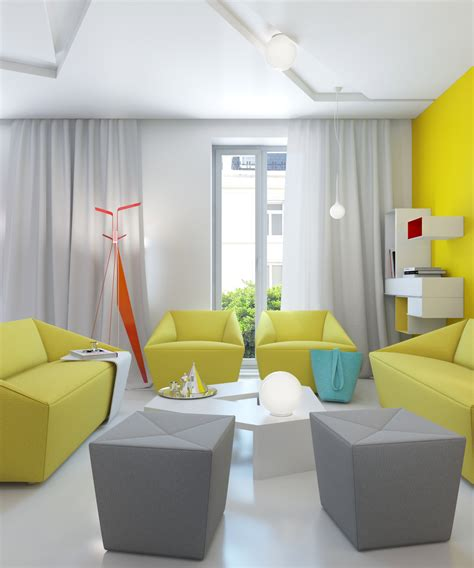 Yellow Gray White Modern Living Room Interior Design Ideas