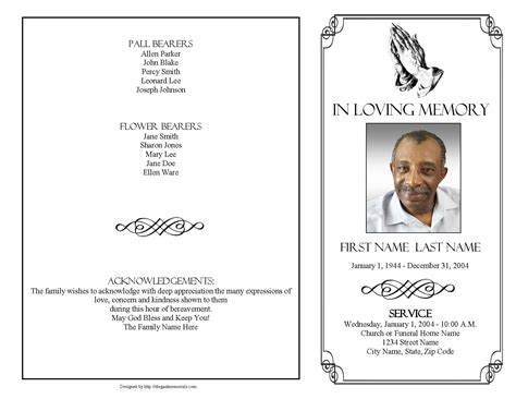 praying hands funeral program template  page graduated