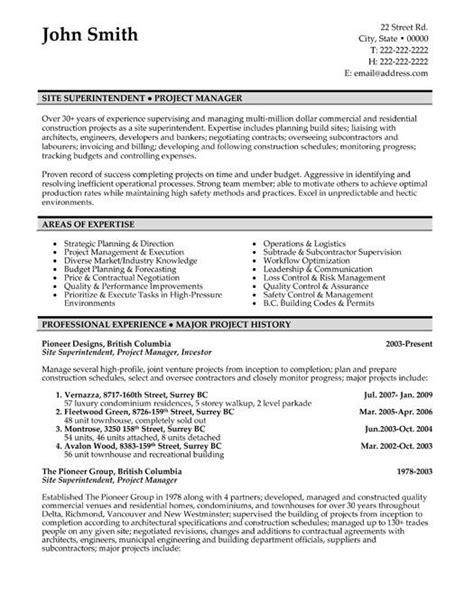 resume template   site superintendent