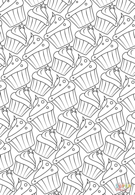 cupcakes pattern coloring page  printable coloring pages