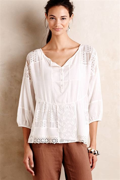 peasant blouses virginia peasant blouse in white lyst