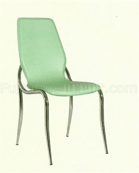 green vinyl set of 4 modern dining chairs w chromed metal legs
