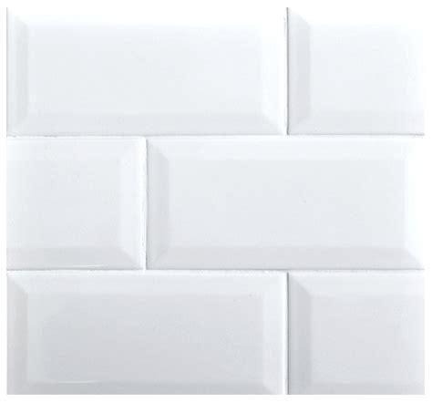 beveled  subway whisper white glossy ceramic tile