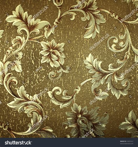 Luxury Green Floral Damask Wallpaper Stock Photo 91837412