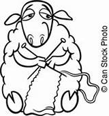 Knitting Sheep Coloring Clip Clipart Illustration Cartoon Farm Vector Funny Yarn Animal Knit Drawing Drawings Needles Wool Fotosearch Silhouette Canstockphoto sketch template