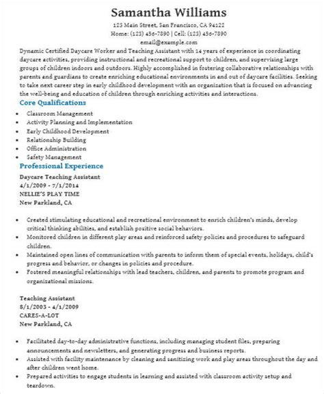 Daycare Assistant Resume by 42 Resume Formats