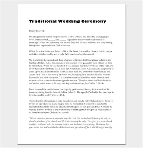 wedding vows template wedding outline template 13 for word and pdf format