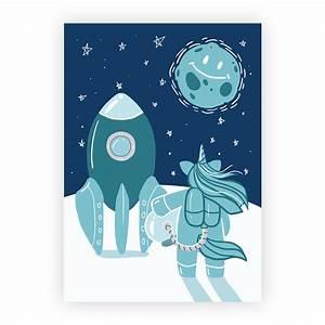 Coole Poster Fürs Zimmer : a3 poster f r kinderzimmer einhorn im weltraum blau kullaloo ~ Bigdaddyawards.com Haus und Dekorationen