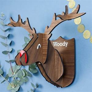 personalised wooden stag head wall decoration by create