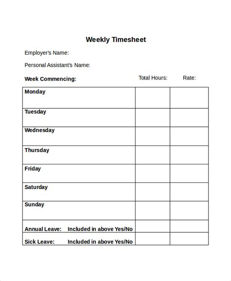 Weekly Timesheet Template 30 Timesheet Templates Free Sle Exle Format