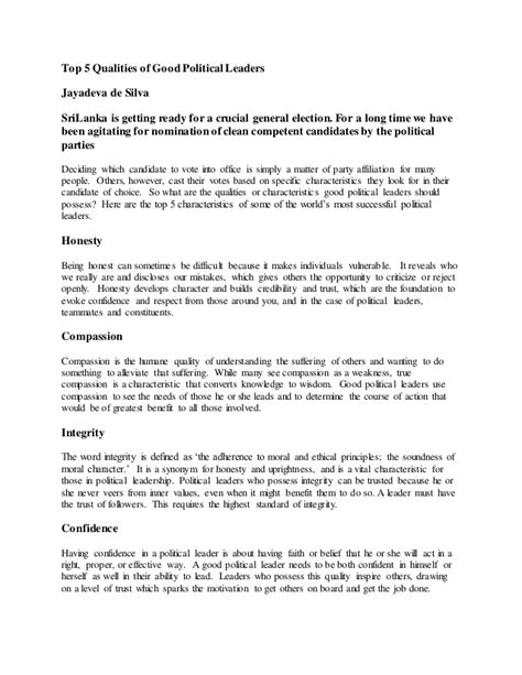 Top 5 Qualities Of Good Political Leaders. Resume Summary Statement Example Template. Sample Business Consultant Resume Template. Ms Word Poster Templates. Summary Sample For Resume Template. Resume For Nurse Assistant Template. Sales Resume Objective Samples Template. Samples Of Marketing Resumes Template. Funny Baby Shower Messages For Boy