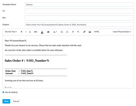 what is an email template zoho inventory email templates