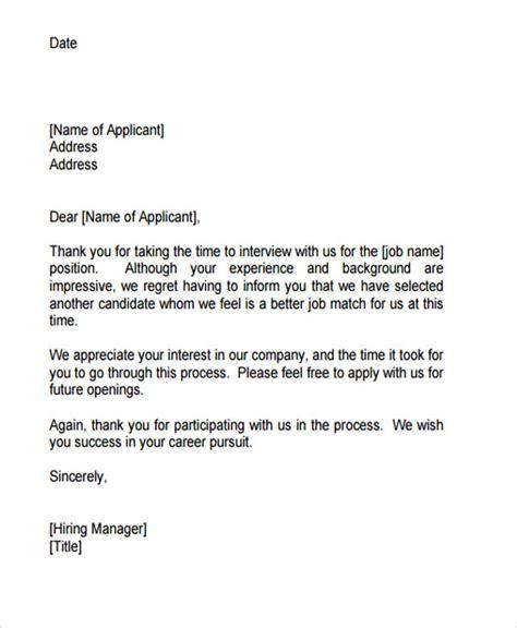 regret letter sample  job applicant