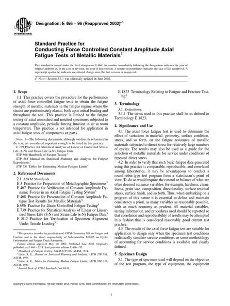 ASTM E466 Uji Fatik Logam | Fatigue (Material) | Stress