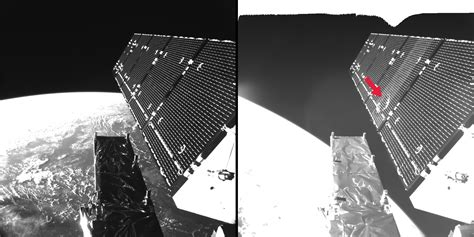 fragmented space space in images 2016 08 sentinel 1a fragment impact in space