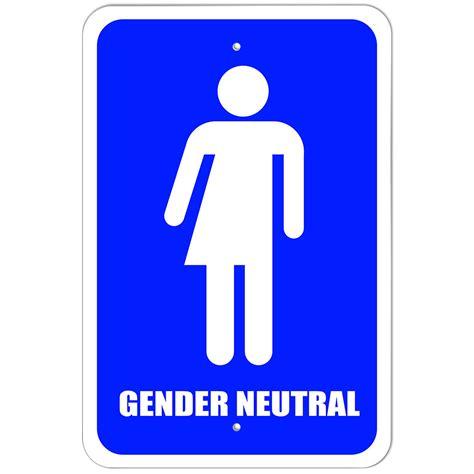 Plastic Sign Gender Neutral Bathroom  All Transgender