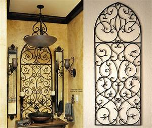 Tuscan iron wall decor love the tuscan decor bathroom for Best brand of paint for kitchen cabinets with wrought iron metal wall art