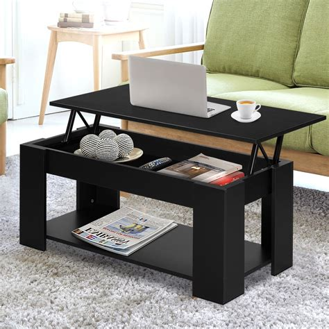 Lift up table with storage compartments. Lift Up Top Mechanical Coffee Table - Black   Complete Storage Solutions