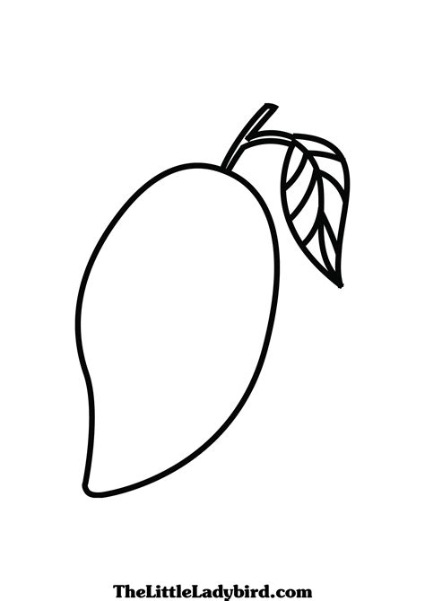 Coloring Mango by Free Fruits Coloring Pages Thelittleladybird
