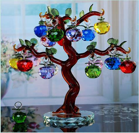 lucky crystal apple tree home decoration wedding gift