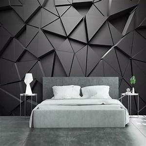 Modern Creative 3D Geometric Abstract Gray Triangle Large ...