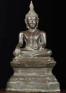 "SOLD Brass Earth Touching Thai Buddha Statue 11"" (#83t32 ..."