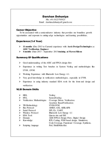 Asic Design Engineer Resume by Darshan Dehuniya Resume Asic Verification Engineer 1