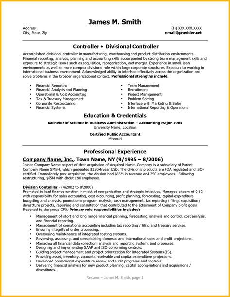 Accounting Controller Resume by 9 Controller Resume Bursary Cover Letter