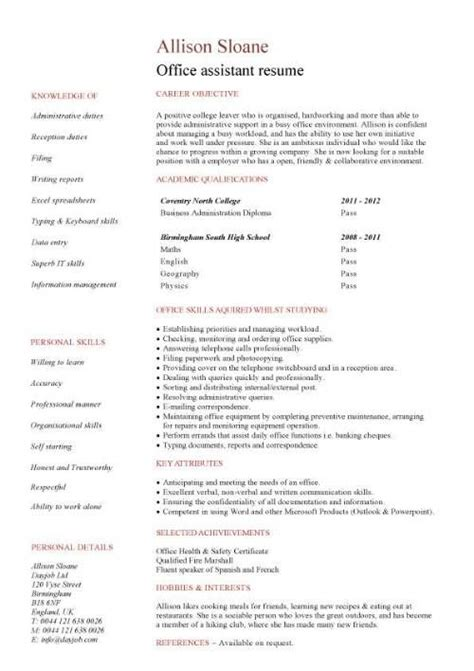 Office Assistant Resume by No Work Experience Office Assistant Resume Hunt