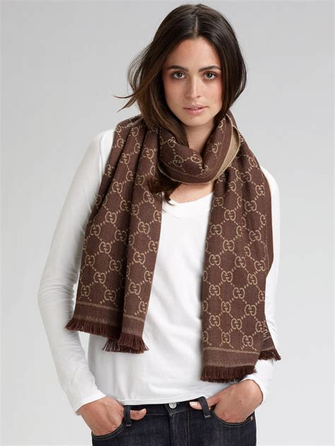 gucci gg pattern scarf  brown lyst