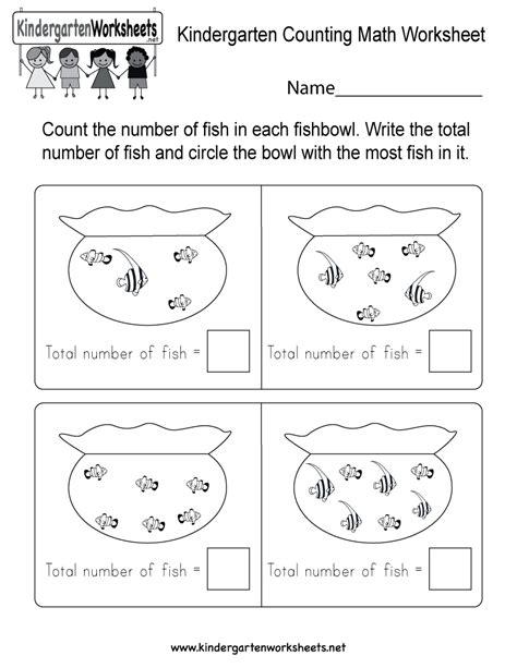 Free Printable Kindergarten Counting Math Worksheet