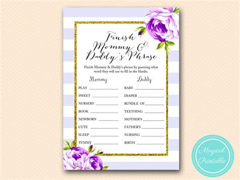 purple lavender baby shower games magical printable