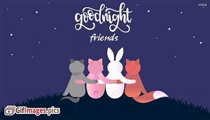 Friends Cartoon Night Friendship Enjoying Animated English
