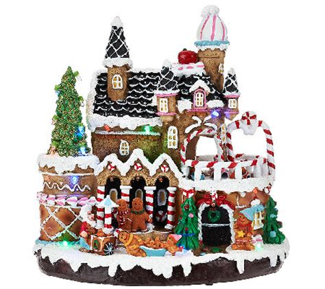 gingerbread house lights decorations plow hearth lighted musical gingerbread house h205966