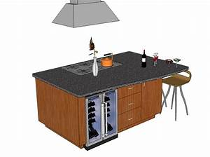 2D And 3D CAD Models Kitchen Islands CADblocksfree CAD