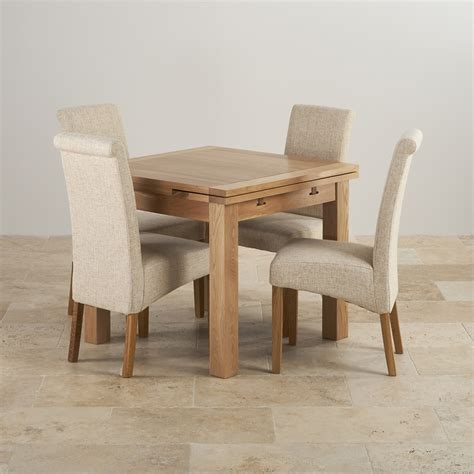 solid oak table and chairs dorset oak 3ft dining table with 4 beige fabric chairs