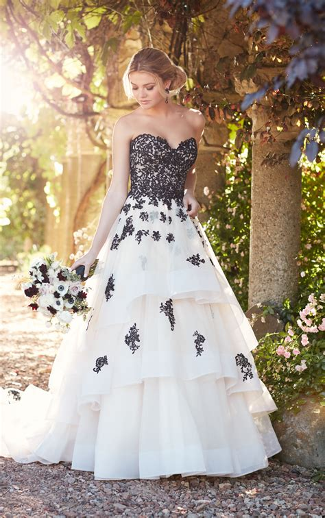 princess wedding dress with lace tulle skirt essense