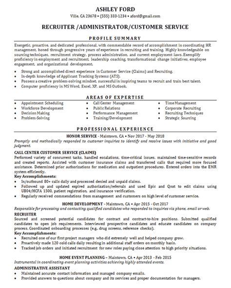recruiter resume  job administrator