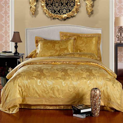 gold comforter set sale high quality silk jacquard luxury gold bedding