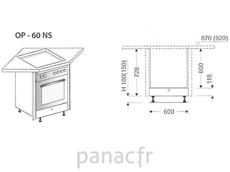 table cuisine 4 pieds meuble d 39 angle sous plaque de cuisson op 60 ns