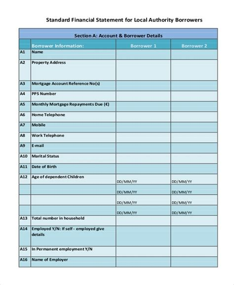 sample financial statement forms