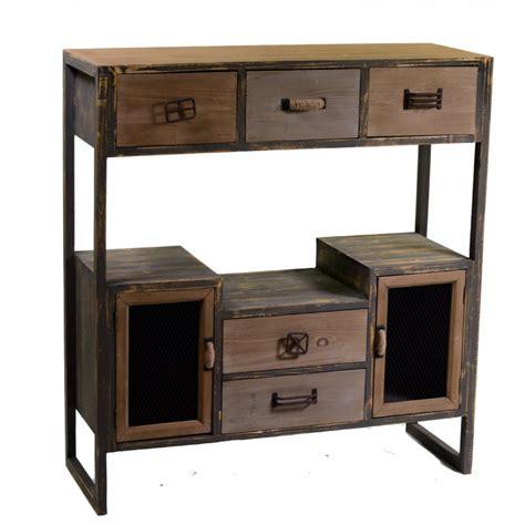 credenza sala mobile cucina stile vintage legno e ferro ante e cassetti