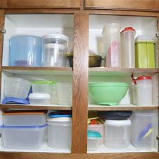 3 Shelves Of Kitchen Plastic Storage Containers