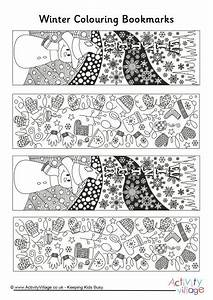 Winter Doodle Colouring Bookmarks