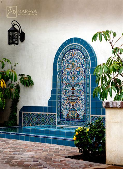blue malibu tile mediterranean landscape