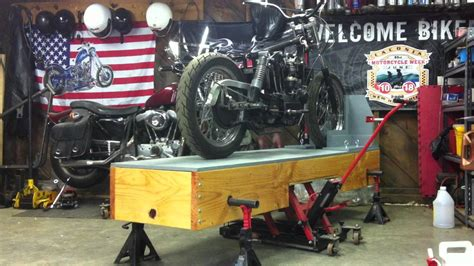 Diy home made wooden motorcycle lift stand table under 20 almost homemade wooden motorcycle lift homemadetools net motorcycle table you motorcycle lift bench table woodworking projects diy welding how to build a motorcycle lift diy for newbies. Woodwork Wooden Motorcycle Lift Table Plans PDF Plans