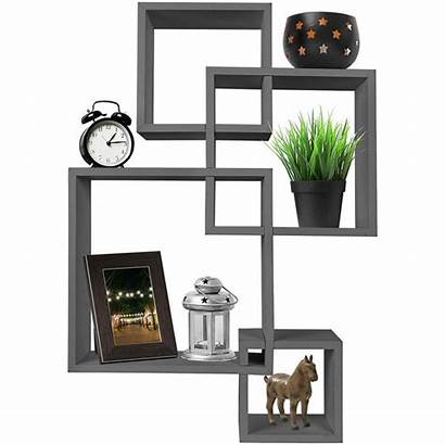 Shelves Floating Mounted Intersecting Cube Decorative Gray